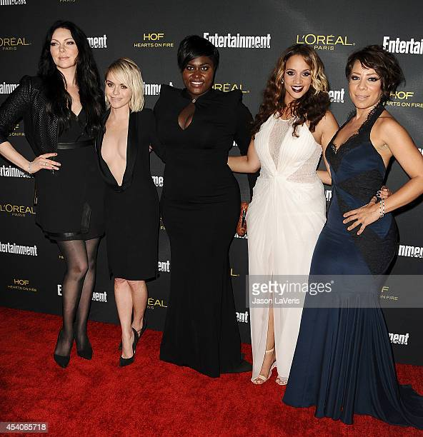 Actresses Laura Prepon Taryn Manning Danielle Brooks Dascha Polanco and Selenis Leyva attend the 2014 Entertainment Weekly preEmmy party at Fig Olive...