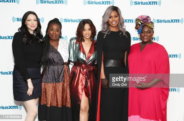 Actresses Laura Prepon Uzo Aduba Dascha Polanco Laverne Cox and Danielle Brooks visit the SiriusXM studios on July 26 2019 in New York City