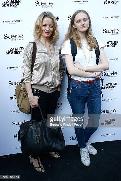 Actresses Laure Marsac and her daughter Lyli Taieb attend the 55 Politiques Exhibition of Stephanie Murat's Pictures Opening Party at Galerie Dupin...