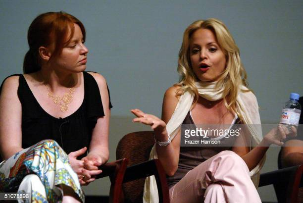 "Actresses Lauren Ambrose and Mena Suvari participate as one of the panel members at the Times Talks ""Queer Storytelling on Six Feet Under"" in..."