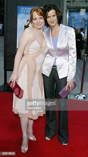 Actresses Lauren Ambrose and Rachel Griffiths attend the premiere of HBO's series 'Six Feet Under' on June 2 2004 at the Graumans Chinese Theatre in...