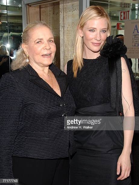Actresses Lauren Bacall and Cate Blanchett attend a special screening afterparty for 'Elizabeth The Golden Age' hosted by The Cinema Society and W...