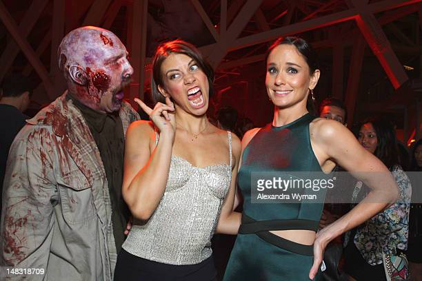 Actresses Lauren Cohan and Sarah Wayne Callies attend 'The Walking Dead' 100th Issue BlackCarpet event powered by Hyundai and Future US at PETCO Park...