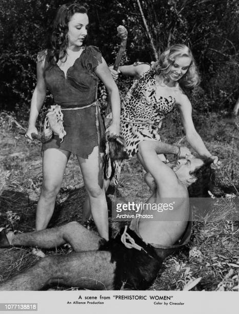 Actresses Laurette Luez and Mara Lynn star as two of the titular cavewomen in the film 'Prehistoric Women' 1950