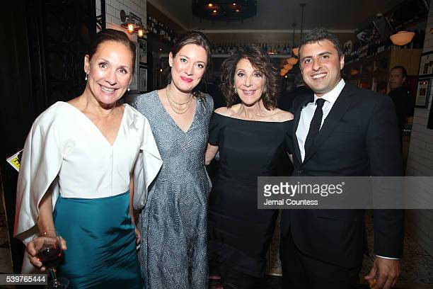 Actresses Laurie Metcalf Zoe Perry and Andrea Martin and Joe Dolman attend the after party for the 2016 Tony Awards Gala presented by Porsche at the...
