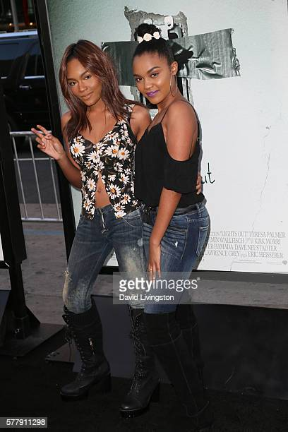 Actresses Lauryn Alisa McClain and China Anne McClain arrive at the premiere of New Line Cinema's Lights Out at the TCL Chinese Theatre on July 19...