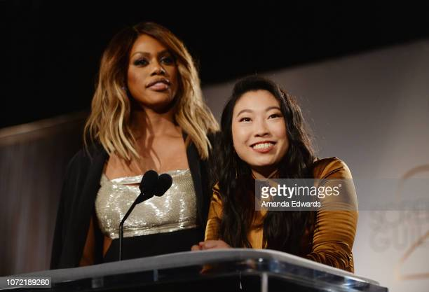 Actresses Laverne Cox and Awkwafina attend the 25th Annual Screen Actors Guild Awards nominations announcement at the Pacific Design Center on...
