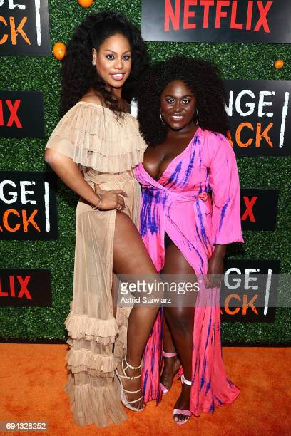 Actresses Laverne Cox and Danielle Brooks attend 'Orange Is The New Black' season 5 celebration at Catch on June 9 2017 in New York City