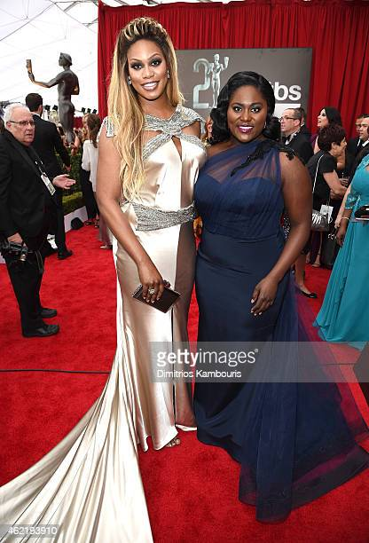 Actresses Laverne Cox and Danielle Brooks attend TNT's 21st Annual Screen Actors Guild Awards at The Shrine Auditorium on January 25 2015 in Los...