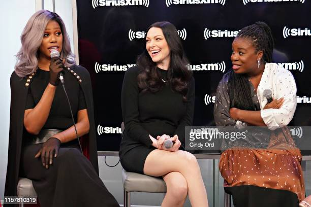 Actresses Laverne Cox Laura Prepon and Uzo Aduba from Orange Is The New Black are interviewed by Larry Flick during a visit to the SiriusXM Studios...