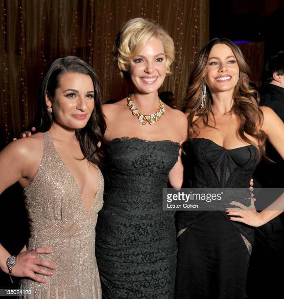 "Actresses Lea Michele, Katherine Heigl, and Sofia Vergara attend the Los Angeles premiere of ""New Year's Eve"" after party at The Grand Ballroom at..."