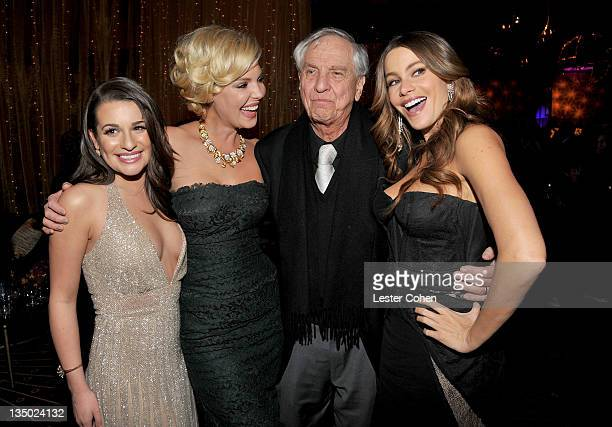 "Actresses Lea Michele, Katherine Heigl, director Garry Marshall and actress Sofia Vergara attend the Los Angeles premiere of ""New Year's Eve"" after..."