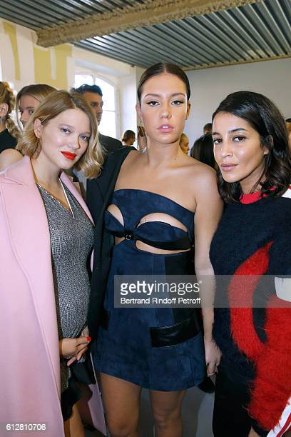 Actresses Lea Seydoux Adele Exarchopoulos and Leila Bekhti attend the Louis Vuitton show as part of the Paris Fashion Week Womenswear Spring/Summer...