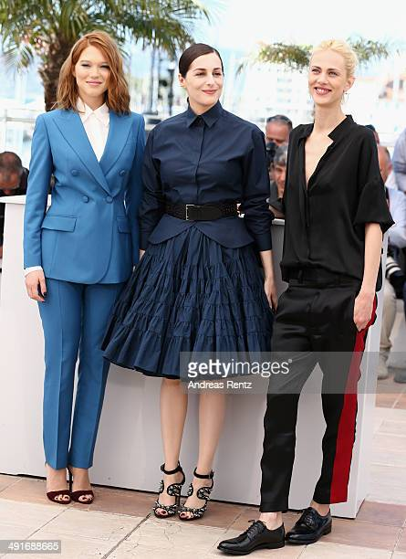 Actresses Lea Seydoux Amira Casar and Aymeline Valade attend the Saint Laurent photocall during the 67th Annual Cannes Film Festival on May 17 2014...