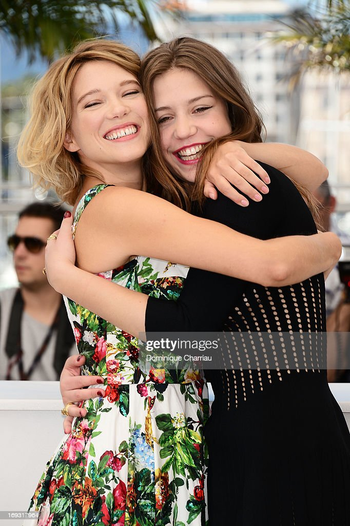 Actresses Lea Seydoux and Adele Exarchopoulos attend the photocall for 'La Vie D'Adele' during the 66th Annual Cannes Film Festival at The Palais des Festivals on May 23, 2013 in Cannes, France.