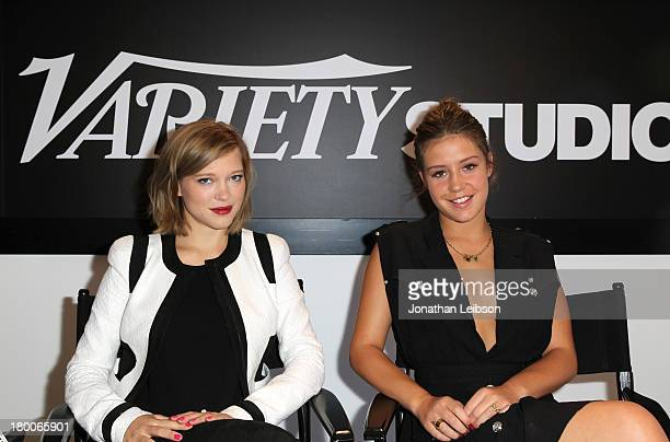Actresses Lea Seydoux and Adele Exarchopoulos speak at the Variety Studio presented by Moroccanoil at Holt Renfrew during the 2013 Toronto...