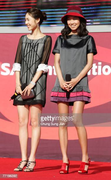 Actresses Lee YeonHee and Gong HyoJin attend an audience meet and greet event at the premiere of 'M' at the 12th Pusan International Film Festival...