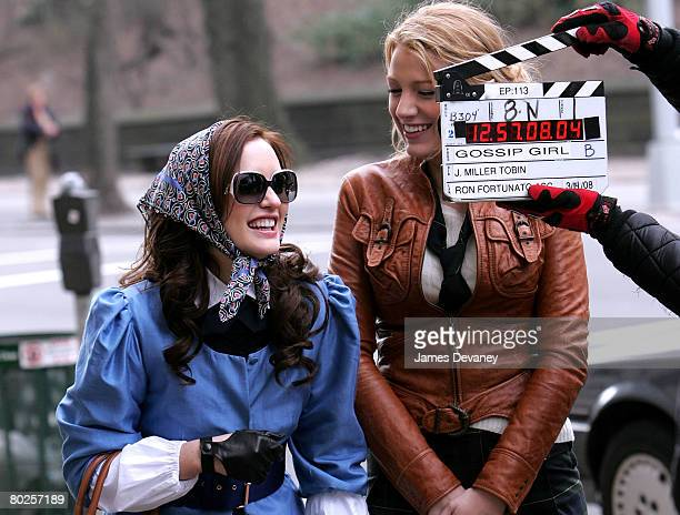 Actresses Leighton Meester and Blake Lively on location for 'Gossip Girl' on March 14 2008 in New York City