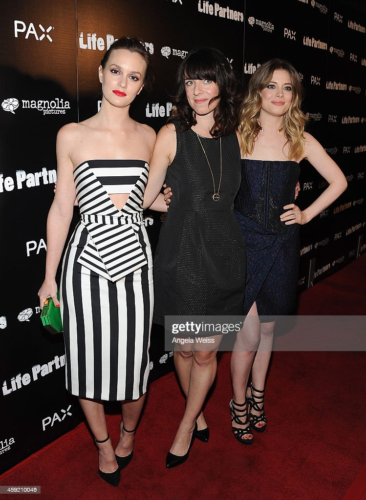 Actresses Leighton Meester (L) and Gillian Jacobs with director Susanna Fogel (C) arrive at the premiere of Magnolia Pictures' 'Life Partners' at ArcLight Hollywood on November 18, 2014 in Hollywood, California.