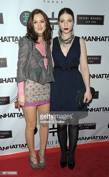Actresses Leighton Meester and Michelle Trachtenberg attend the You Know You Want It publication celebration at Henri Bendel on January 12 2010 in...