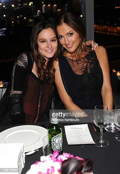 Actresses Leighton Meester and Minka Kelly attend the dinner for the NYLON celebration for the February issue with cover star Leighton Meester at W...