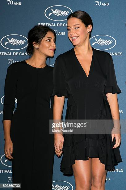 Actresses Leila Bekhti and Adele Exarchopoulos attend the 'Cannes Film Festival 70th anniversary' Party at Palais Des Beaux Arts on September 20 2016...