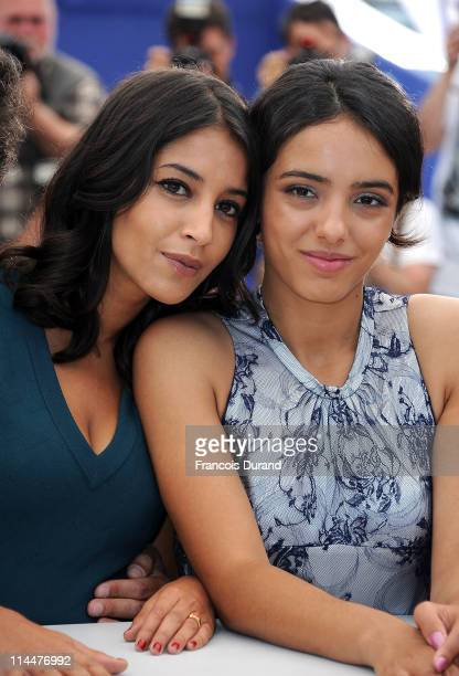 Actresses Leila Bekhti and Hafsia Herzi attend the La Source Des Femmes Photocall at Palais des Festivals during 64th Annual Cannes Film Festival on...