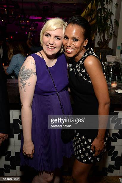 Actresses Lena Dunham and Kerry Washington attend Variety and Women in Film Emmy Nominee Celebration powered by Samsung Galaxy on August 23 2014 in...