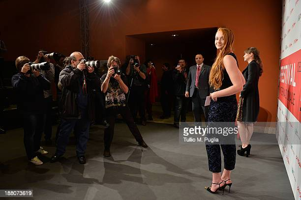 Actresses Leonor Watling and Sophie Turner attends the 'Another Me' Photocall during the 8th Rome Film Festival at the Auditorium Parco Della Musica...