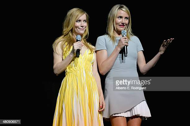Actresses Leslie Mann and Cameron Diaz onstage during 20th Century Fox's Special Presentation Highlighting Its Future Release Schedule during...