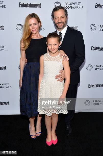 Actresses Leslie Mann and Iris Apatow and director Judd Apatow arrive at the 2014 Paleyfest Icon Award ceremony honoring Judd Apatow at The Paley...