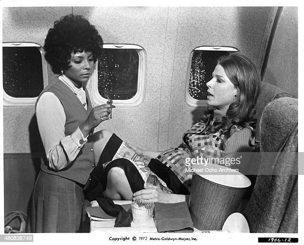 Actresses Leslie Uggams and Mariette Hartley in a scene from the movie Skyjacked circa 1972