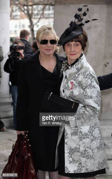 Actresses Letitia Dean and June Brown arrive for the funeral of actress Wendy Richard at St Mary's Church Marylebone High Street on March 09 2009 in...