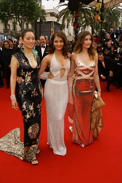 Actresses Li Gong Aishwarya Rai and Laetitia Casta attend the premiere of Spanish director Pedro Almodovar`s movie `Bad Education` at the 57th Cannes.