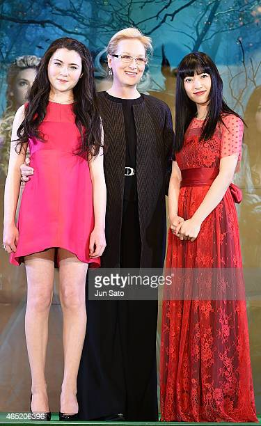 Actresses Lilla Crawford Meryl Streep and Sayaka Kanda attend 'Into the Woods' Japan Premiere at Roppongi Hills on March 4 2015 in Tokyo Japan