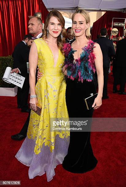 Actresses Lily Rabe and Sarah Paulson attend The 22nd Annual Screen Actors Guild Awards at The Shrine Auditorium on January 30 2016 in Los Angeles...