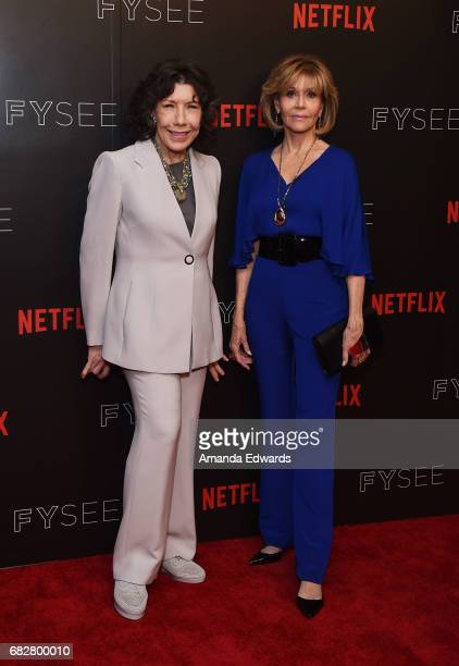 Actresses Lily Tomlin and Jane Fonda arrive at Netflix's Grace And Frankie FYC Special Screening Event at the Netflix FYSee Space on May 13 2017 in...