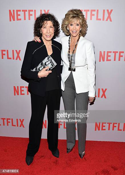 Actresses Lily Tomlin and Jane Fonda arrive at Netflix's Grace Frankie For Your Consideration QA screening event at the Pacific Design Center on May...