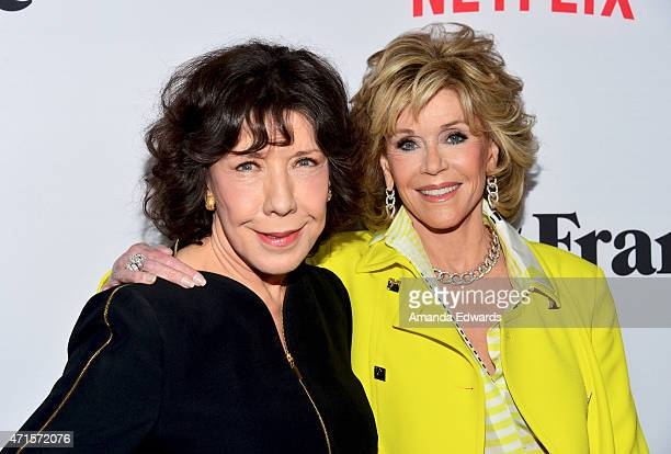 "Actresses Lily Tomlin and Jane Fonda arrive at the premiere of Netflix's ""Grace and Frankie"" at the Regal Cinemas L.A. Live on April 29, 2015 in Los..."