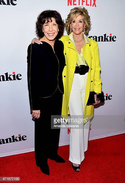 Actresses Lily Tomlin and Jane Fonda arrive at the premiere of Netflix's Grace and Frankie at the Regal Cinemas LA Live on April 29 2015 in Los...