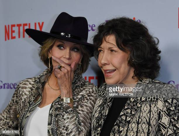 Actresses Lily Tomlin and Jane Fonda arrive for the Season 4 premiere of Netflix's 'Grace and Frankie' at the Arclight Theater in Culver City...