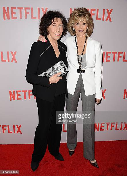 Actresses Lily Tomlin and Jane Fonda attend Netflix's Grace Frankie QA screening event at Pacific Design Center on May 26 2015 in West Hollywood...