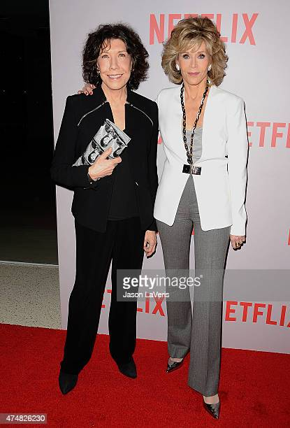 """Actresses Lily Tomlin and Jane Fonda attend Netflix's """"Grace & Frankie"""" Q&A screening event at Pacific Design Center on May 26, 2015 in West..."""