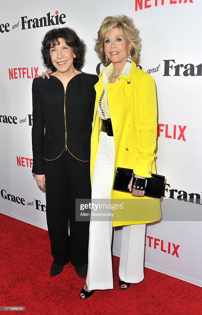 Actresses Lily Tomlin (L) and Jane Fonda attend the premiere of Netflix's 'Grace and Frankie' at Regal Cinemas L.A. Live on April 29, 2015 in Los Angeles, California.