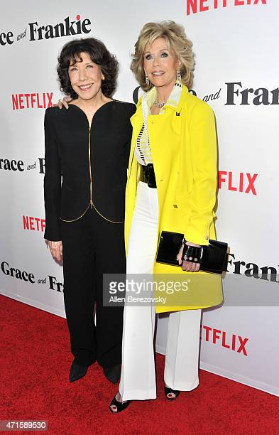 Actresses Lily Tomlin and Jane Fonda attend the premiere of Netflix's Grace and Frankie at Regal Cinemas LA Live on April 29 2015 in Los Angeles...