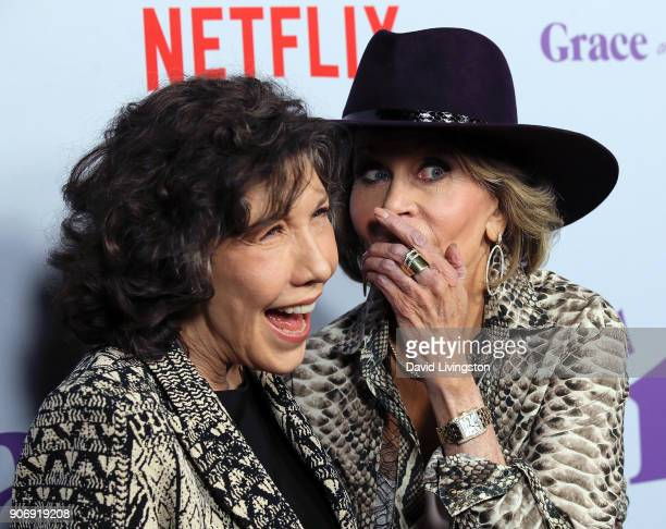 Actresses Lily Tomlin and Jane Fonda attend the premiere of Netflix's Grace and Frankie Season 4 at ArcLight Cinemas on January 18 2018 in Culver...