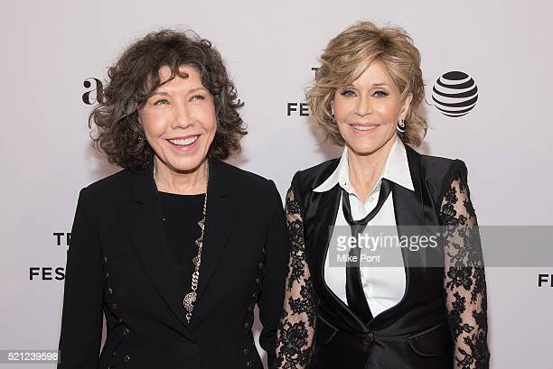 Actresses Lily Tomlin and Jane Fonda attend the Tribeca Tune In Grace and Frankie during the 2016 Tribeca Film Festival at SVA Theatre on April 14...