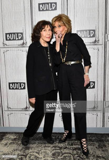 Actresses Lily Tomlin and Jane Fonda visit Build Series to discuss Season 4 of Netflix's Grace and Frankie at Build Studio on January 15 2018 in New...
