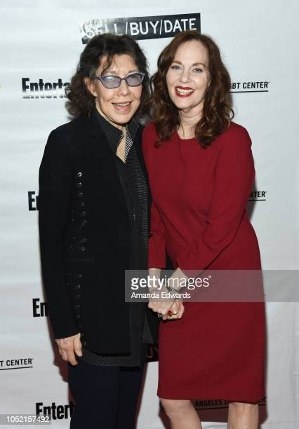 Actresses Lily Tomlin and Lesley Ann Warren arrive at the opening night of 'Sell/Buy/Date' at the Los Angeles LGBT Center on October 14 2018 in Los...