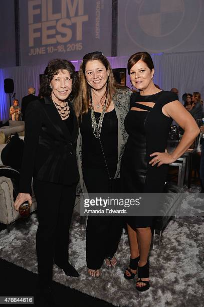 Actresses Lily Tomlin Camryn Manheim and Marcia Gay Harden attend the after party for the opening night premiere of Grandma during the 2015 Los...